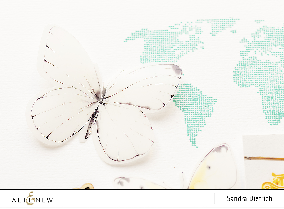 Butterfly Detail Scrapbook Layout with Acetate Butterflies @SandraDietrich for @Altenew