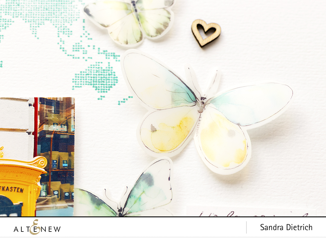 World Map and Butterfly Scrapbook Layout with Acetate Butterflies @SandraDietrich for @Altenew