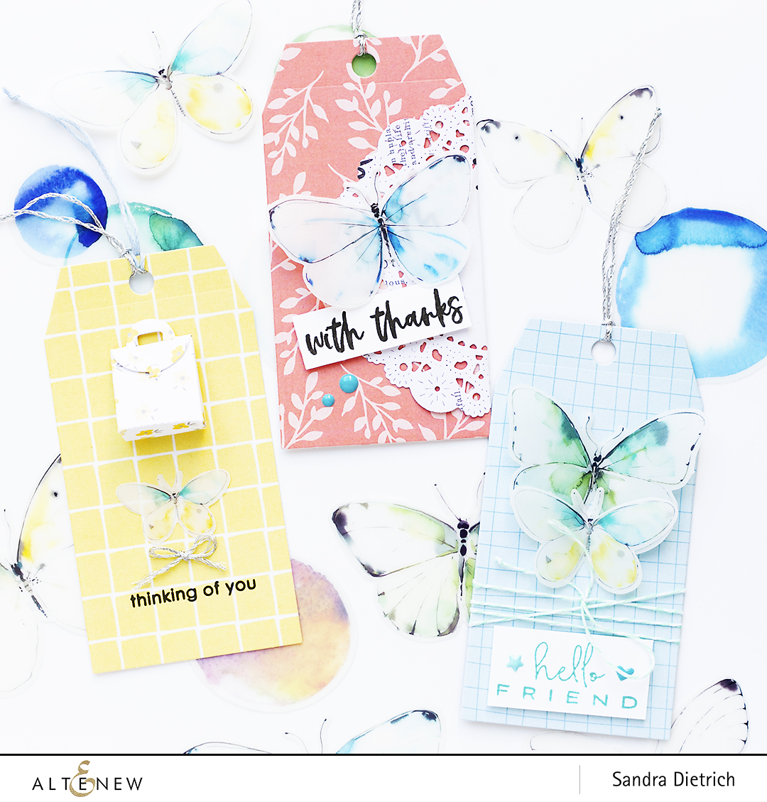 Three Gift Tags with Pastel Dreams Paper Pack @SandraDietrich for @Altenew