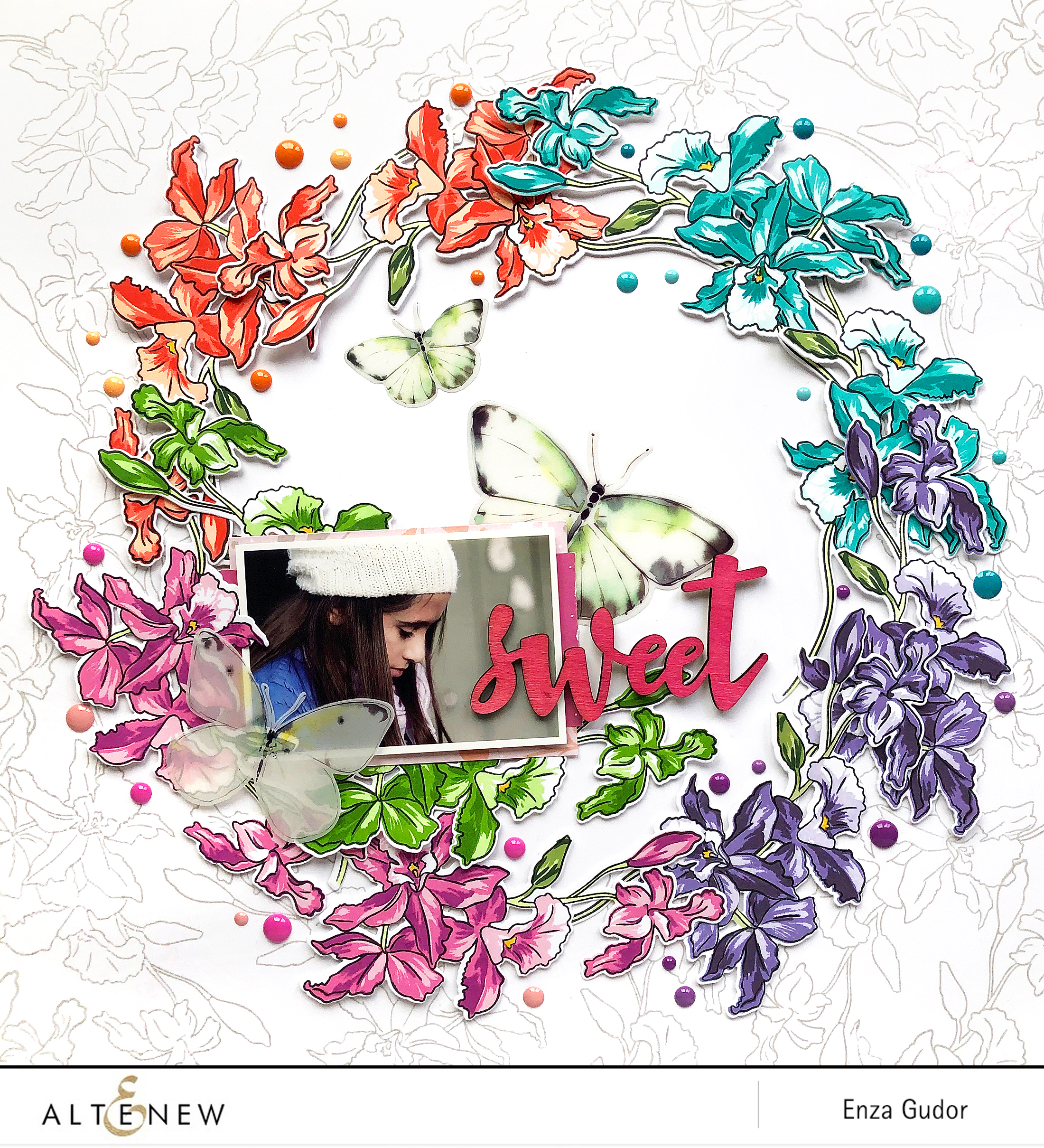 Layout with BAF: Cattleya by @enzamg for @altenew. #altenew #scrapbooking