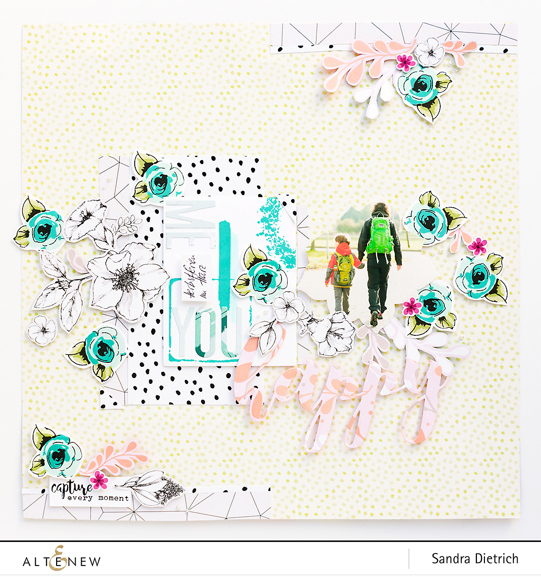 Painted Flowers Stamp Set on a Scrapbook Layout @SandraDietrich for @Altenew