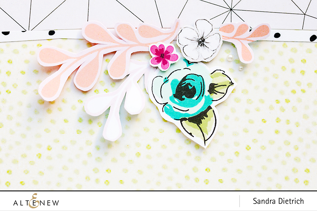 Die Cutting and Stamping with Painted Flowers Stamp Set Detail @SandraDietrich for @Altenew