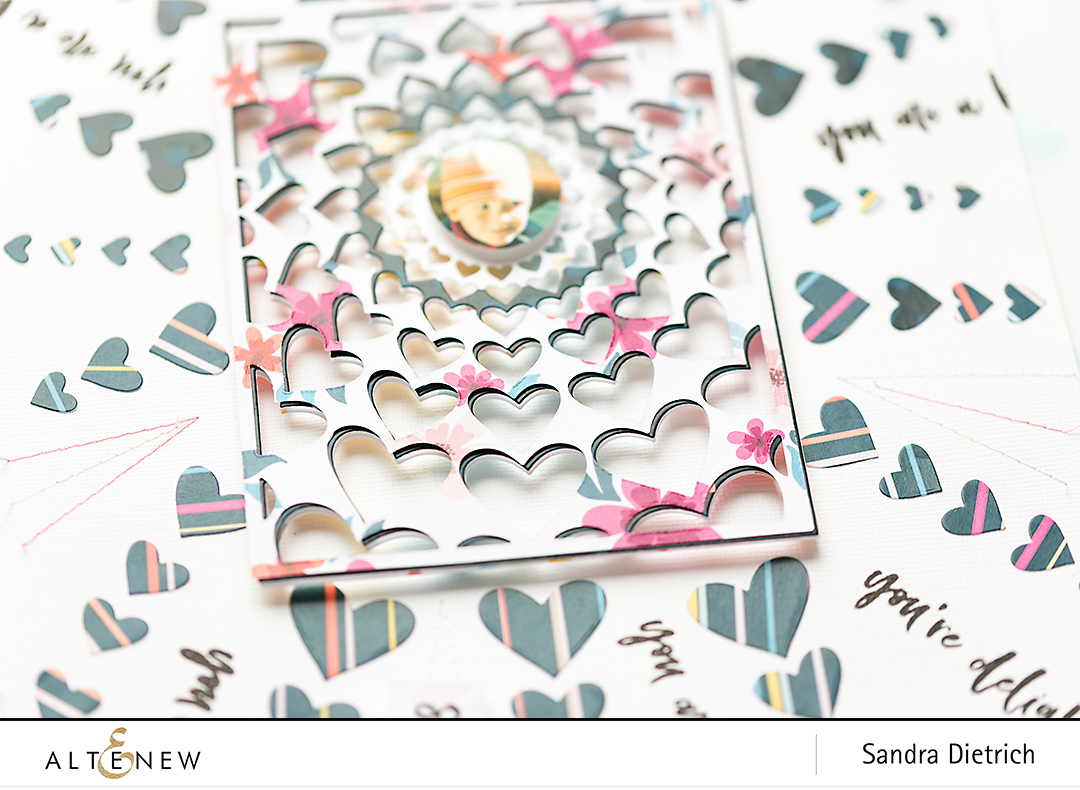 Radial Heart Cover Die close-up photos Scrapbook Layout @SandraDietrich for @Altenew