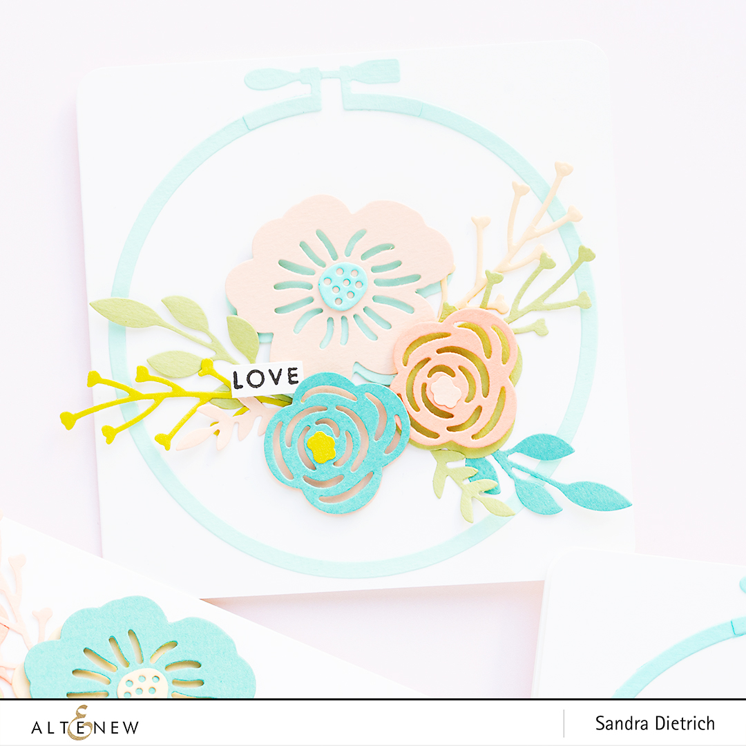 Spring Inspiration Floral Card Love with Layered Foral Elements Die @SandraDietrich for @Altenew