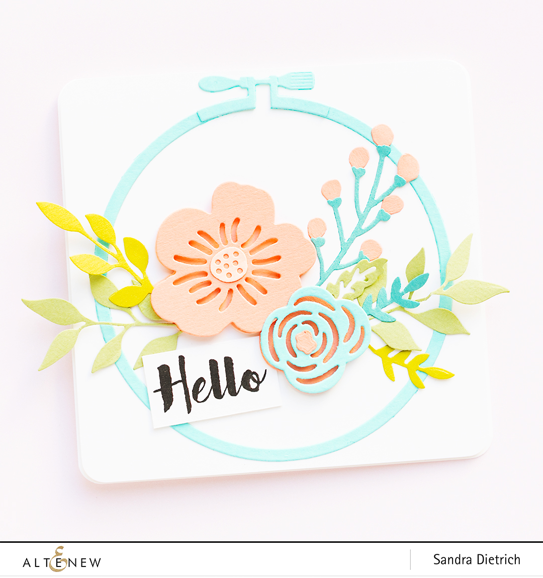 Spring Inspiration Floral Card Hello with Layered Foral Elements Die @SandraDietrich for @Altenew