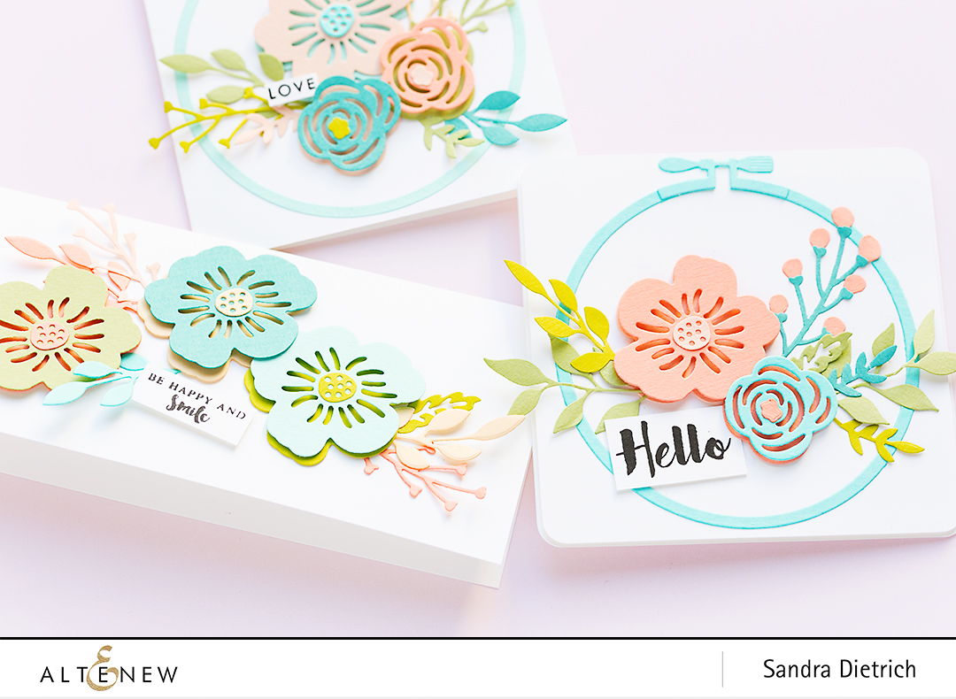 Spring Inspiration Floral Cards with Layered Foral Elements Die @SandraDietrich for @Altenew