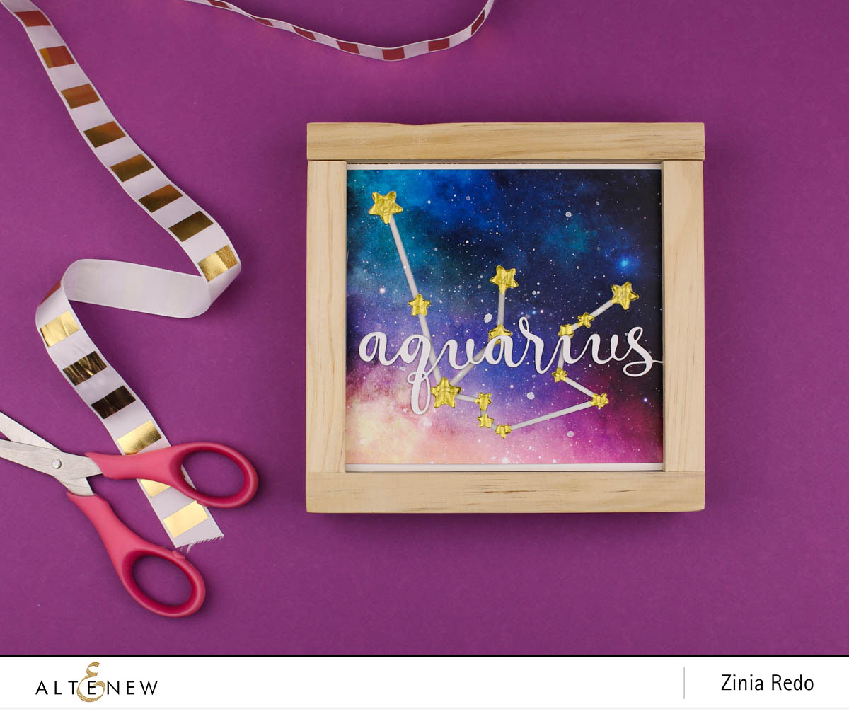 Constellation Deco Frame @ziniaredo @altenewllc #ziniaredo #altenew #zodiacconstellation #galaxy #celestial #decoframe