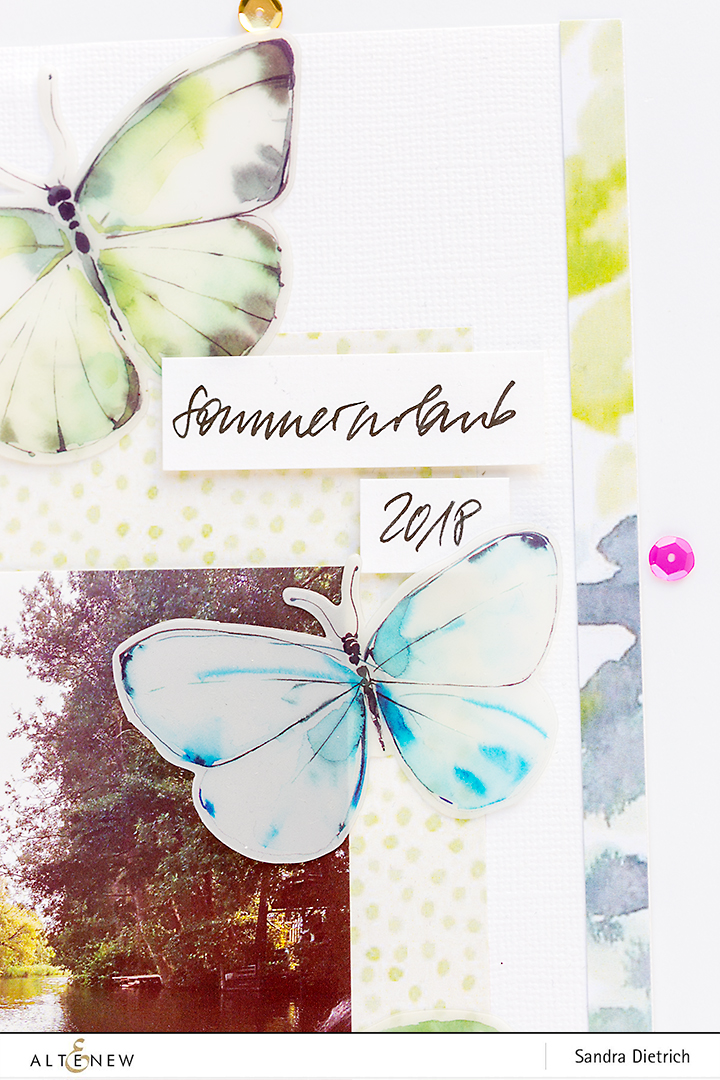 Layout Detail with butterflies @SandraDietrich for @Altenew