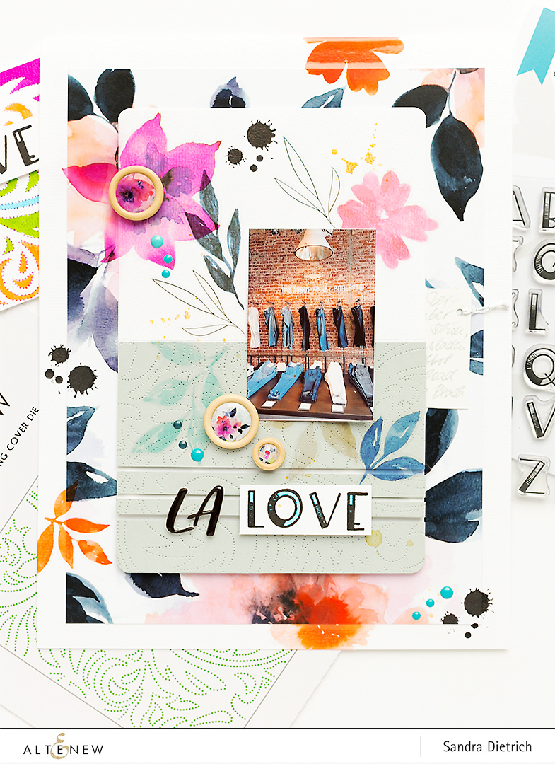 Ombré Alpha Stamp Set on a Scrapbook Page @SandraDietrich for @Altenew