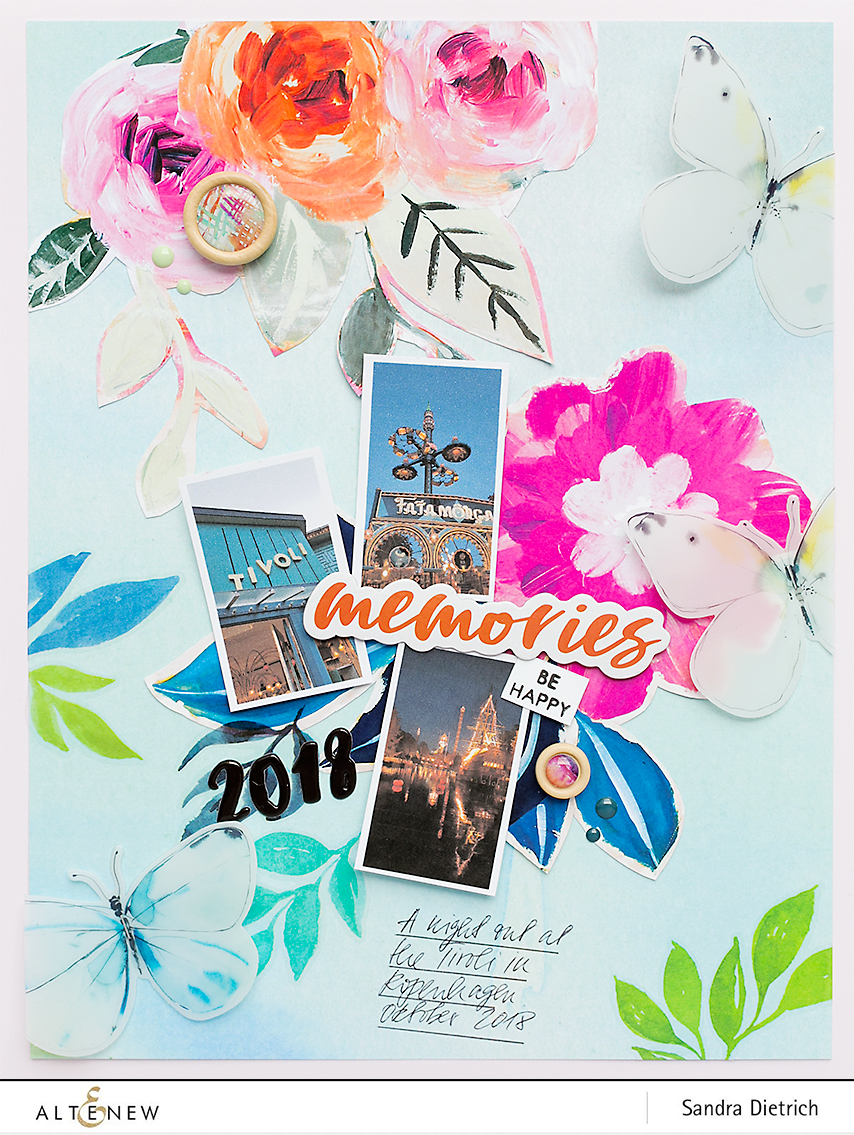 Scrapbook Layout with Alluring Blooms Paper Pad @SandraDietrich for @Altenew