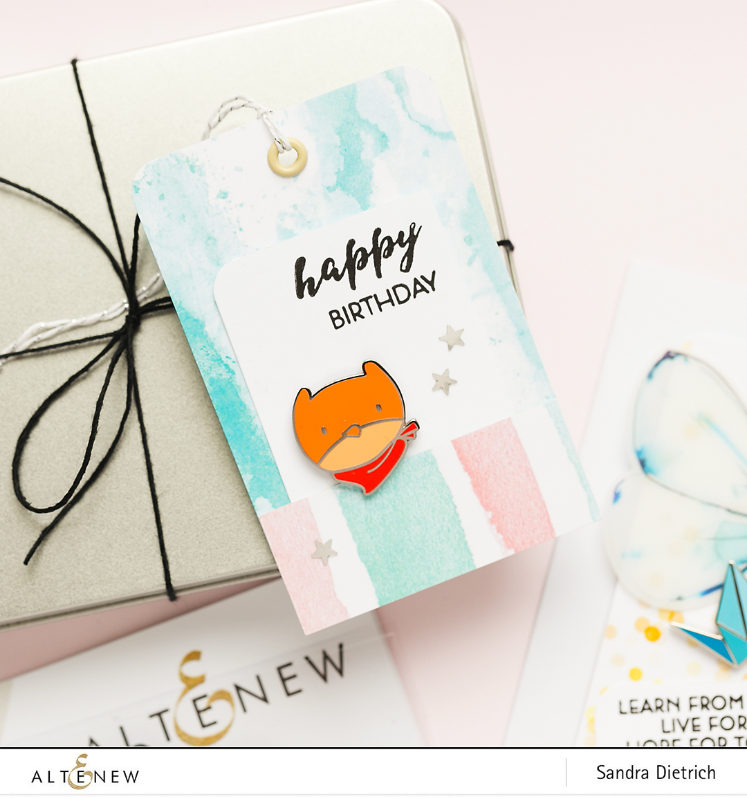 Gift Tag with Pen Sketch Mandala Stamp Set and Enamel Pin @SandraDietrich for @Altenew