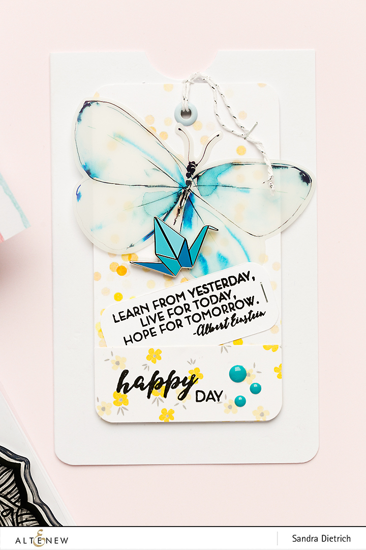 Butterfly and Enamel Pin on a card @SandraDietrich for @Altenew