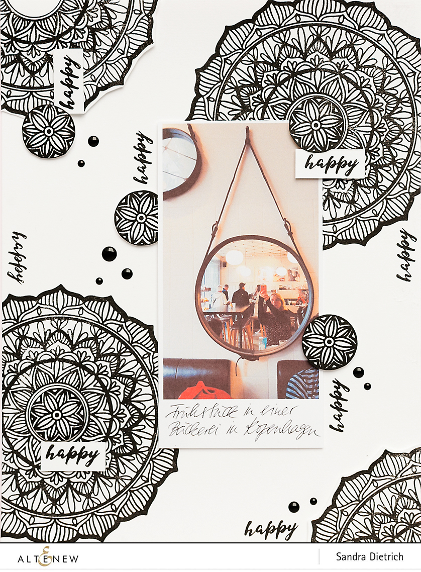 8.5 x 11 Scrapbook Layout with Pen Sketch Mandala @SandraDietrich for @Altenew
