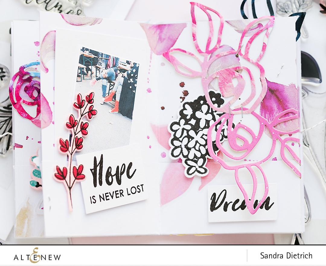 Floral Mini Album Page @SandraDietrich for @Altenew