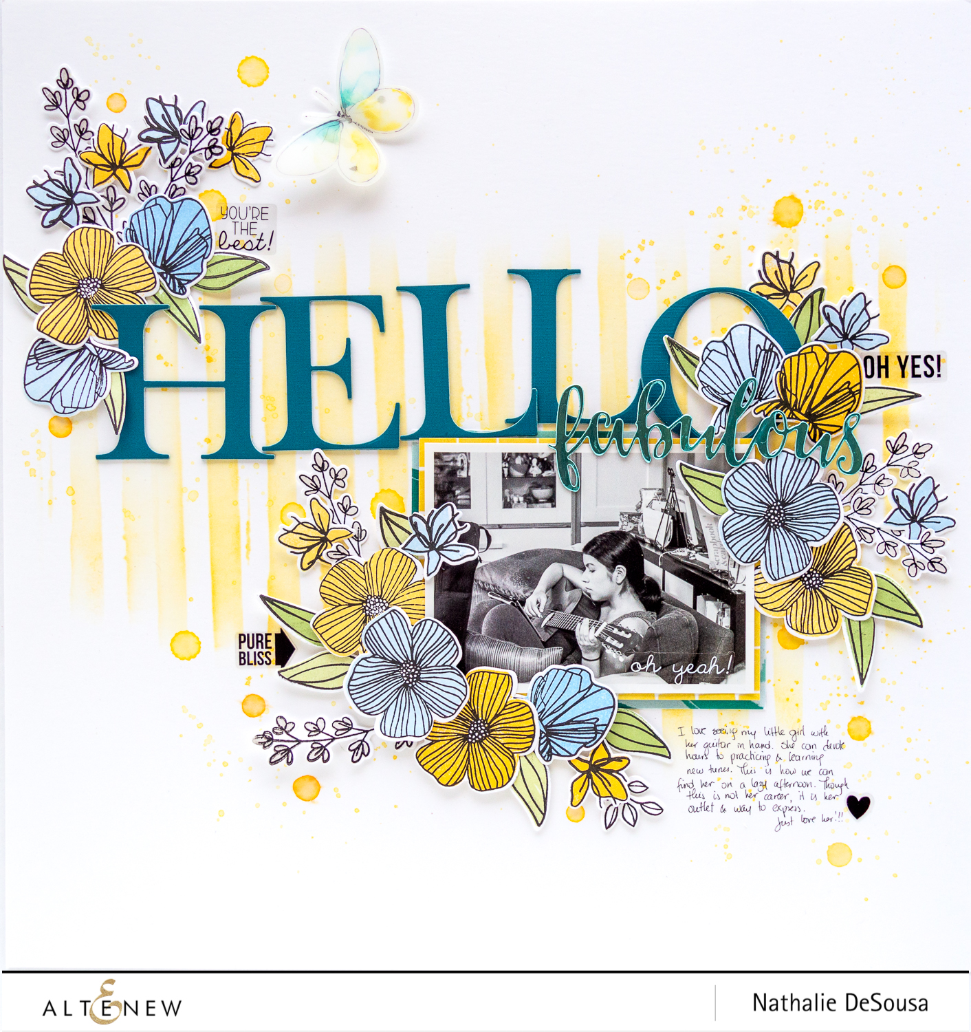 Combining simple mixed media with the Charming Doodles Stamp and Die set -HELLO FABULOUS_by Nathalie DeSousa for @Altenew