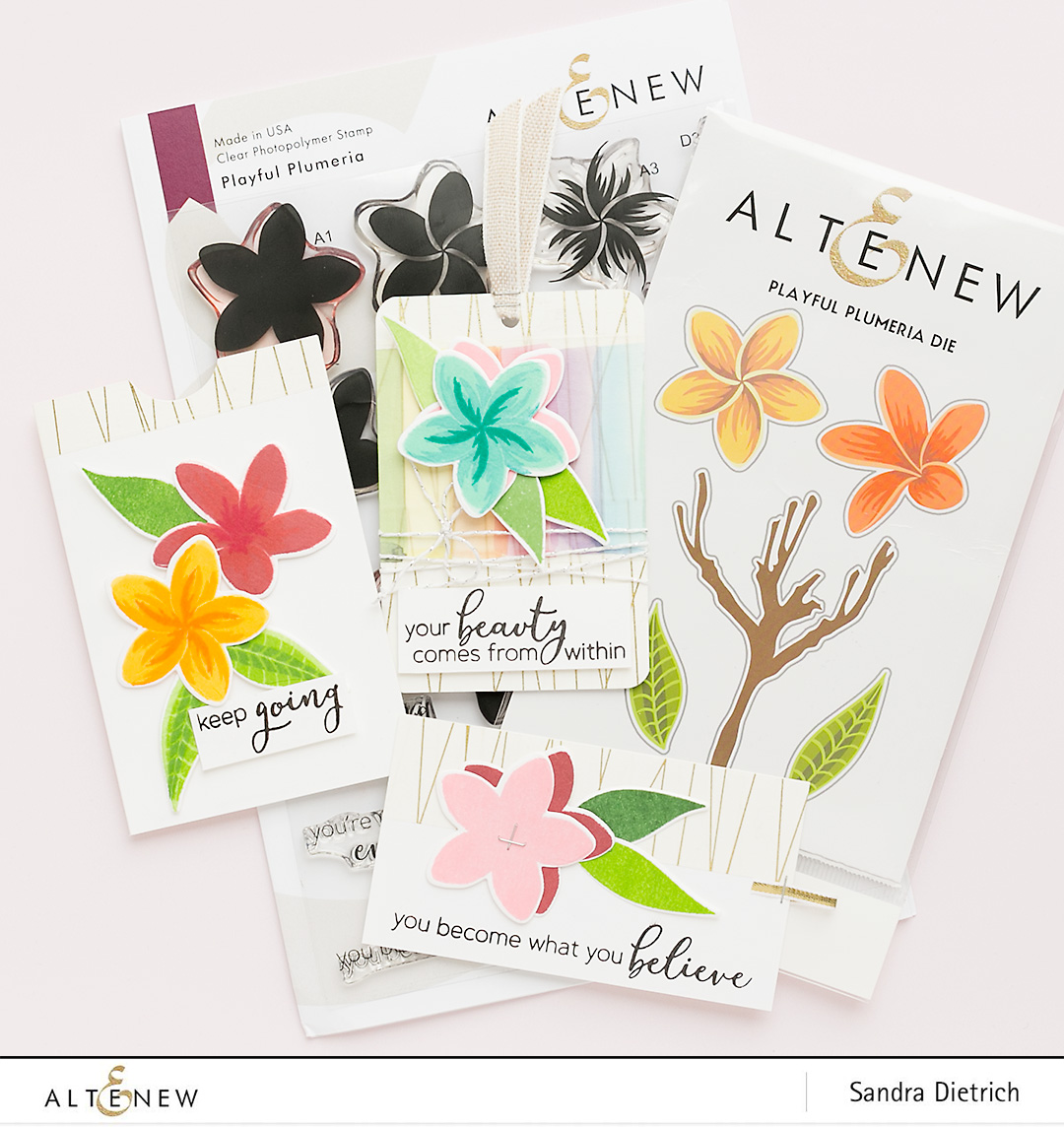 Stamp Highlight Playful Plumeria Gift Tags @SandraDietrich for @Altenew