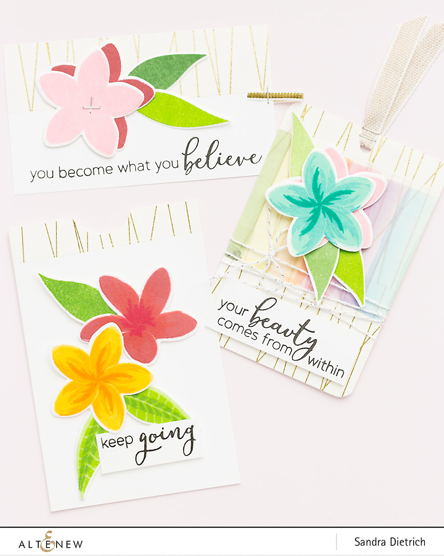 Stamp Highlight Playful Plumeria Three Gift Tags @SandraDietrich for @Altenew
