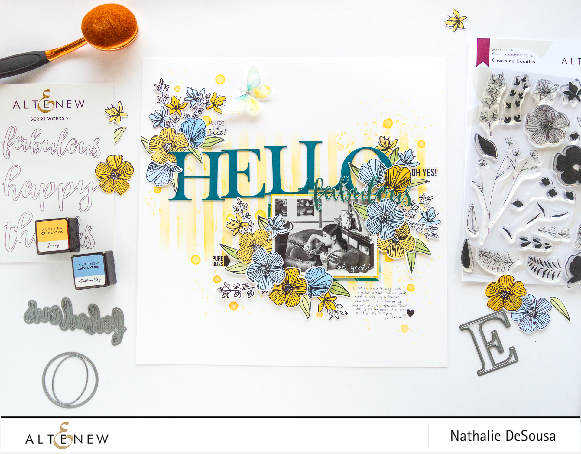 Combining Mixed Media with the Charming Doodles Stamp set -HELLO FABULOUS by Nathalie DeSousa for @altenew