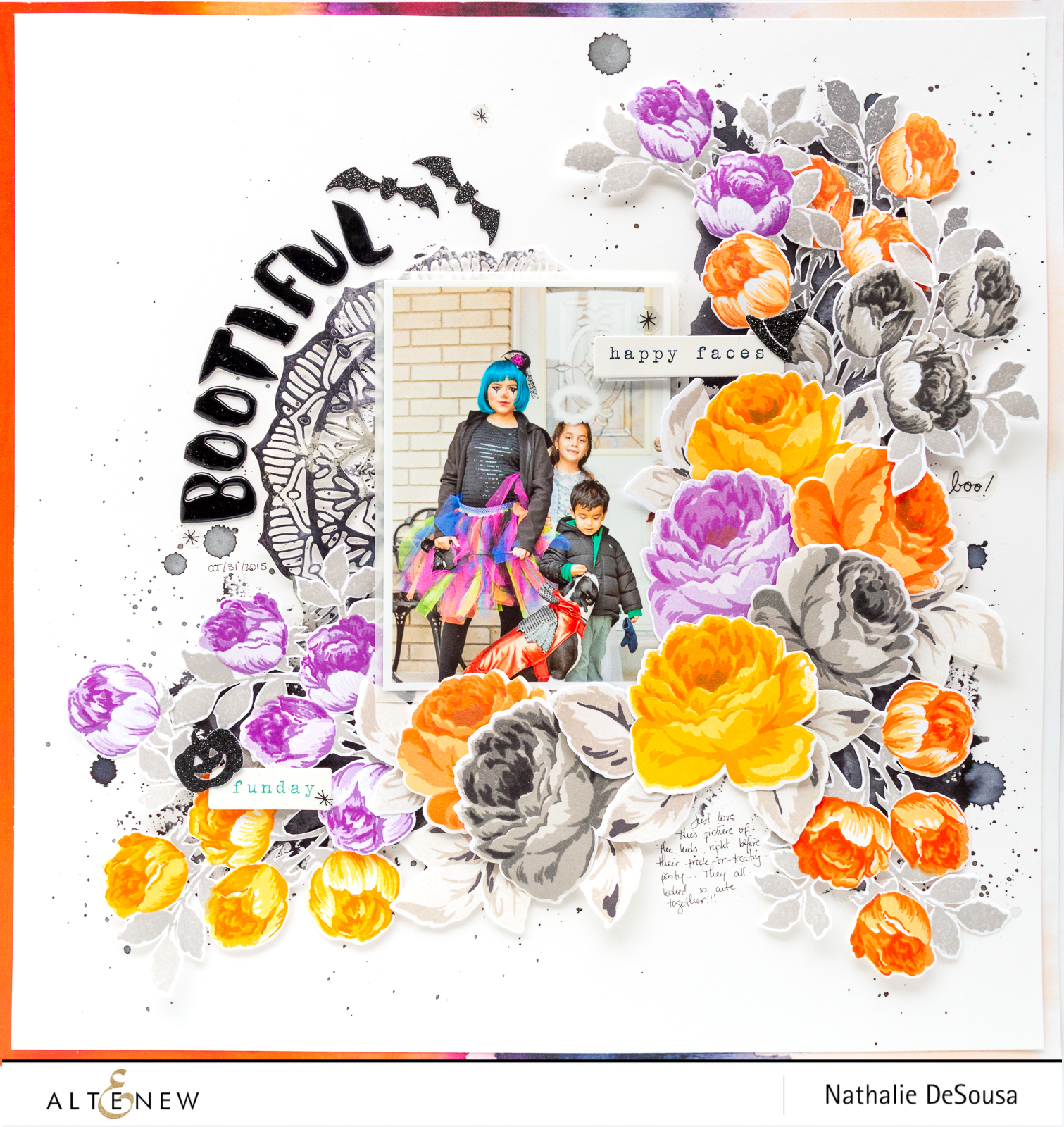 @Altenew- Halloween Layout with Altenew Antique Roses and Sweet Rose Bouquet stamp set by Nathalie DeSousa