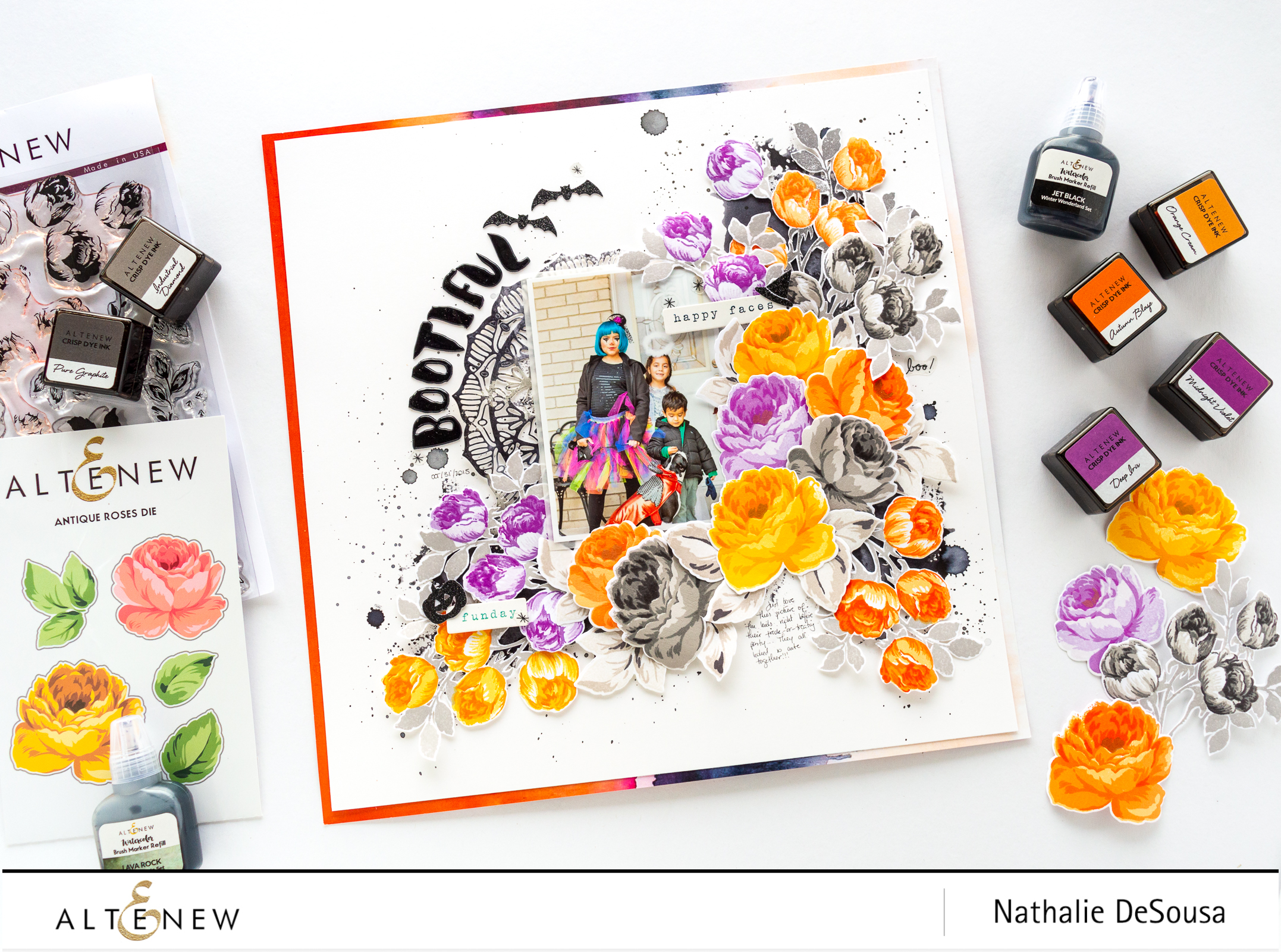 @Altenew_HALLOWEEN LAYOUT WITH ALTENEW ANTIQUE ROSES AND SWEET ROSE BOUQUET STAMPS by NATHALIE DESOUSA