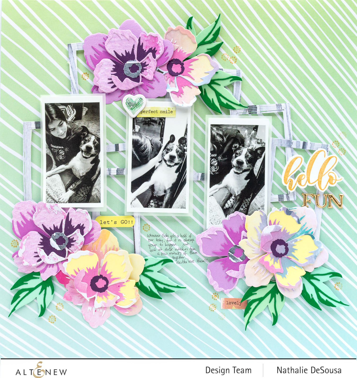 @Altenew_PEONY HELLO CREATIVITY KIT_ Scrapbook Layout by Nathalie DeSousa