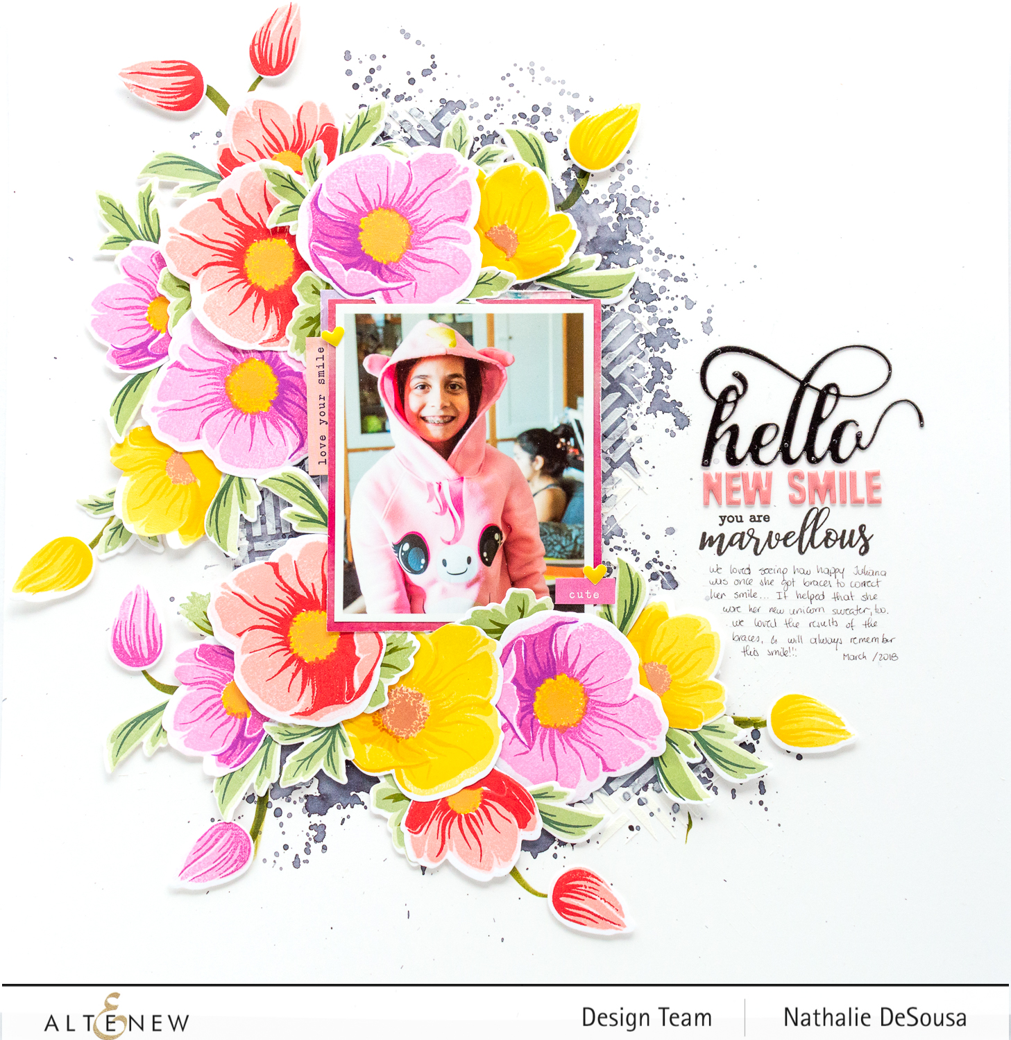 @altenew- contrasting colors in a scrapbook layout using BAF: Hellebore by Nathalie DeSousa