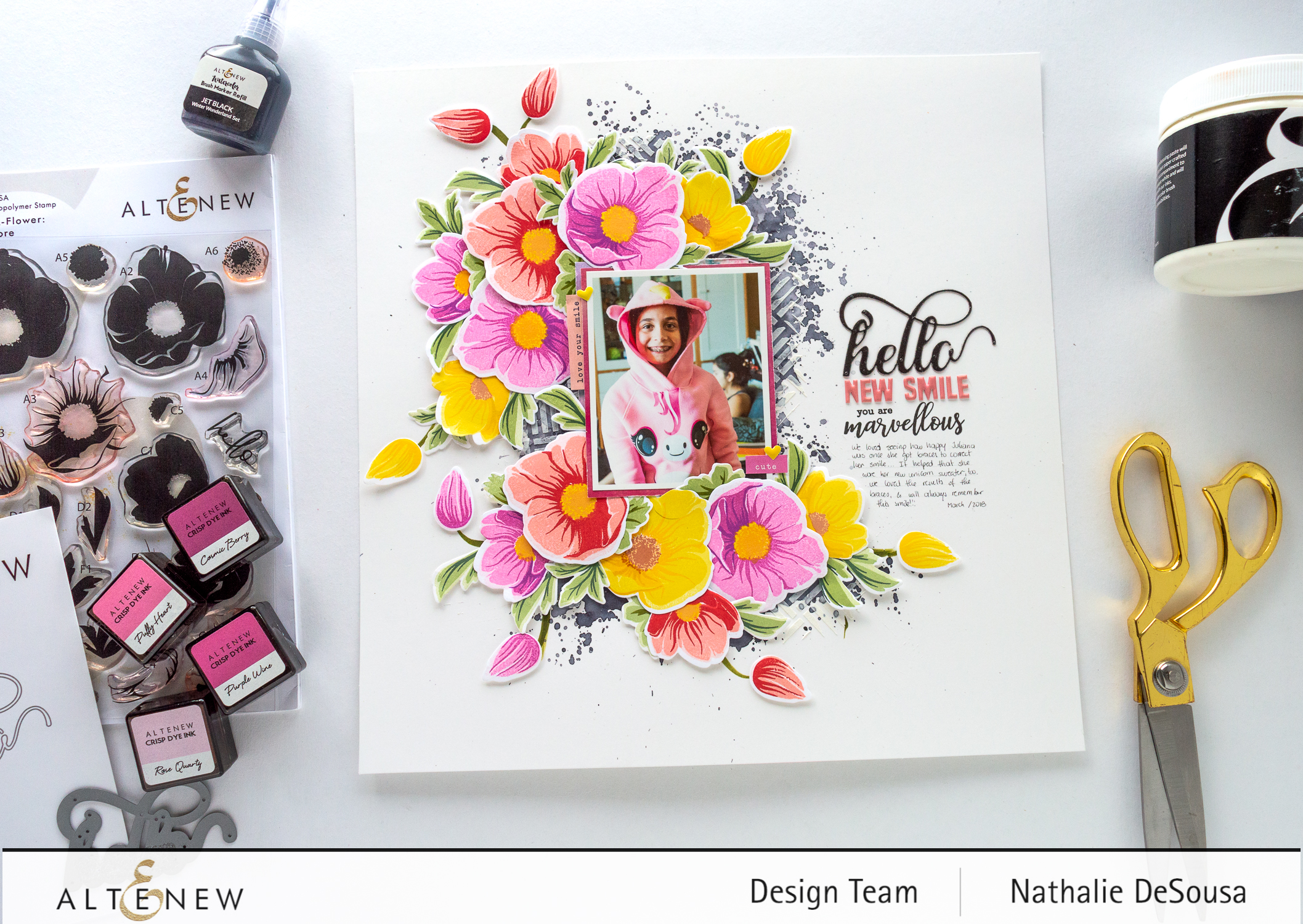 @altenew-contrasting colors in a scrapbook layout featuring BAF: Hellebore stamp set by Nathalie DeSousa