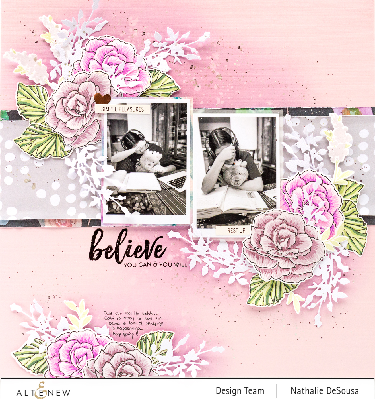 @altenew_scrapbook layout feat. Build-a-fower: Begonia stamp set by Nathalie DeSousa