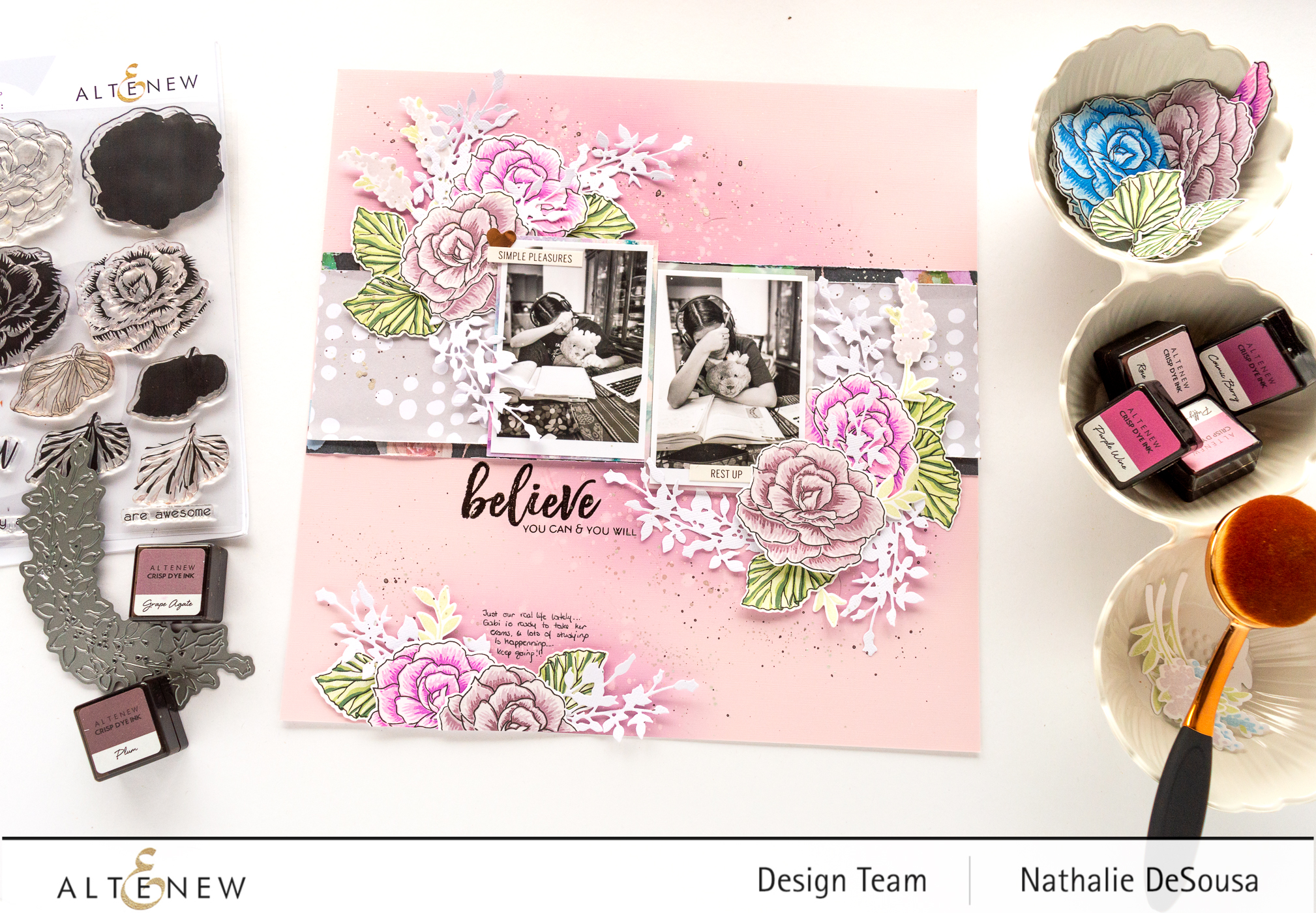 @altenew_scrapbook layout featuring Build-a-Flower: Begonia by Nathalie DeSousa