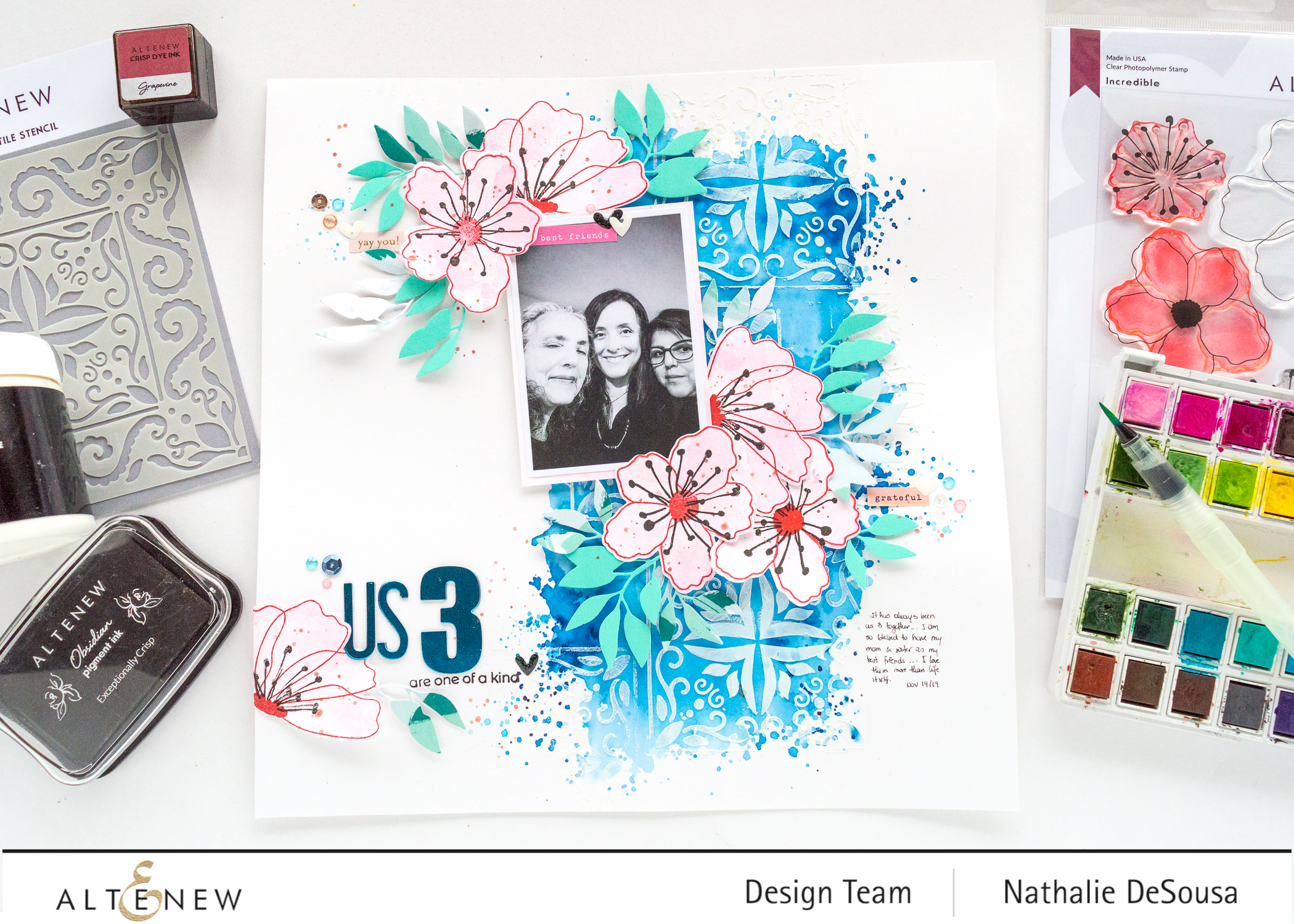 @altenew_mixed media layout feat, Incredible stamp set by Nathalie DeSousa
