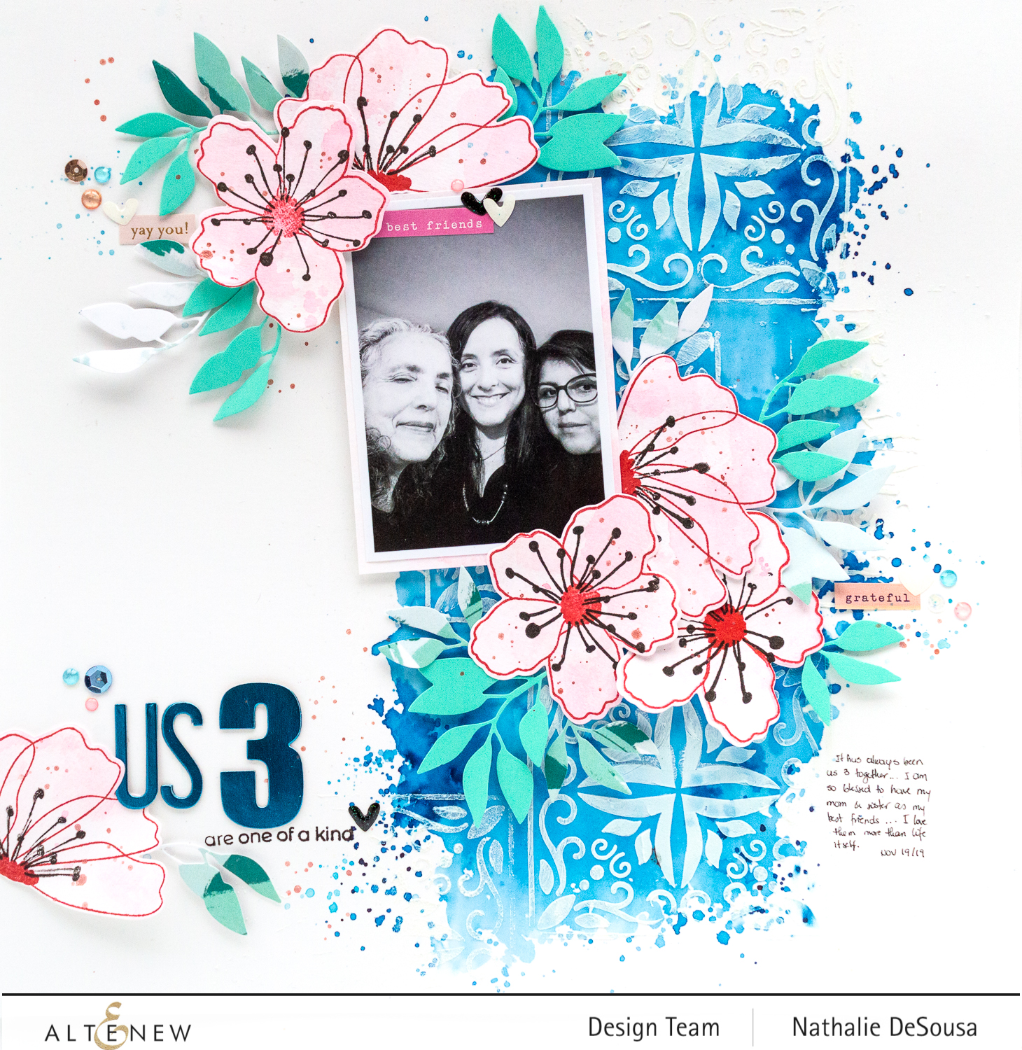 @altenew_mixed media scrapbook layout featuring Incredible Stamp set by Nathalie DeSousa