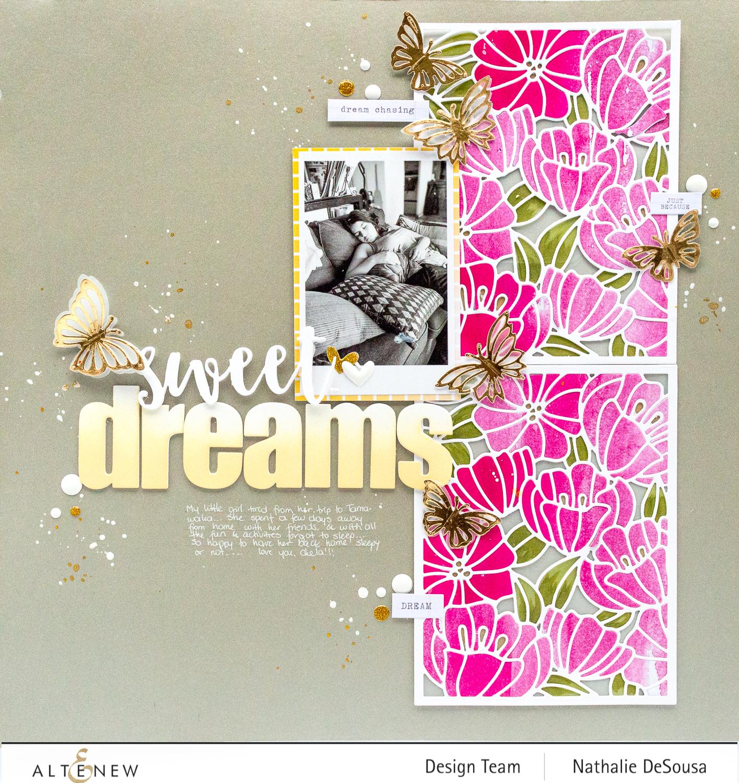 @altenew_scrapbook layout with dies by Nathalie DeSousa