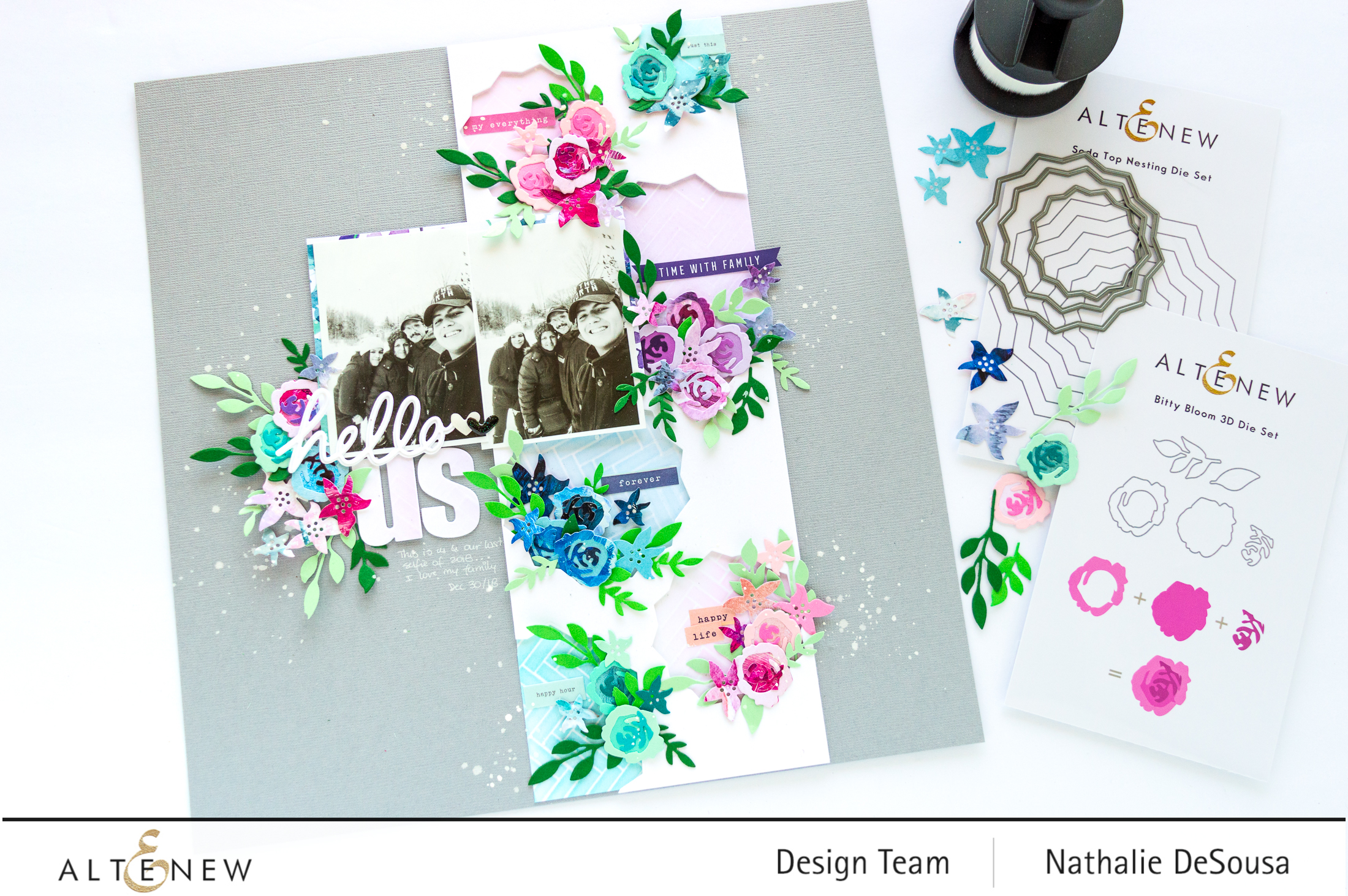 @altenew_Create a colorful Scrapbook layout using dies_ Nathalie DeSousa