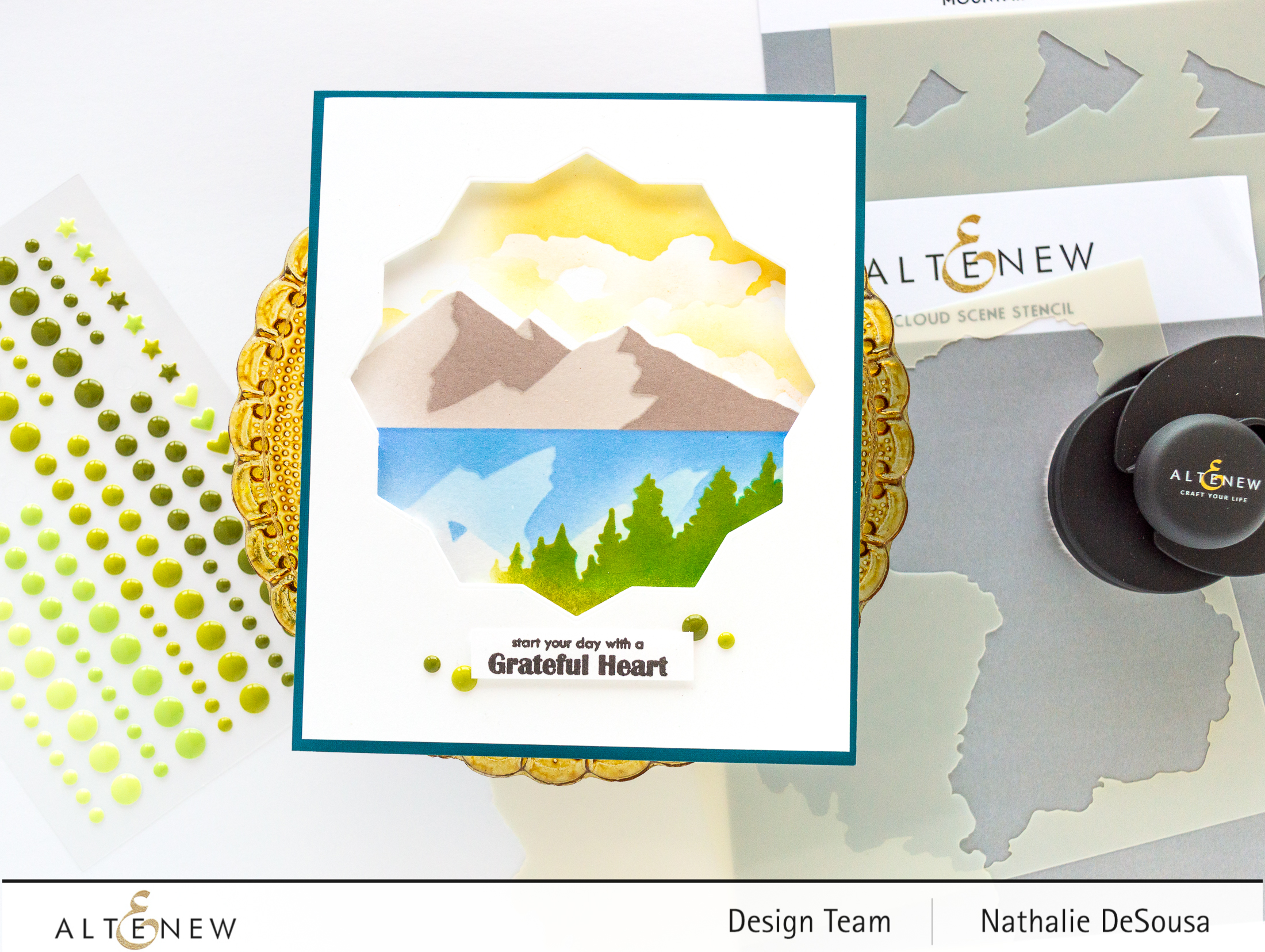 @altenew_Cloud Scene stencil, Mountain Scene stencil, Tropical Forest Enamel dots- Card by Nathalie DeSousa