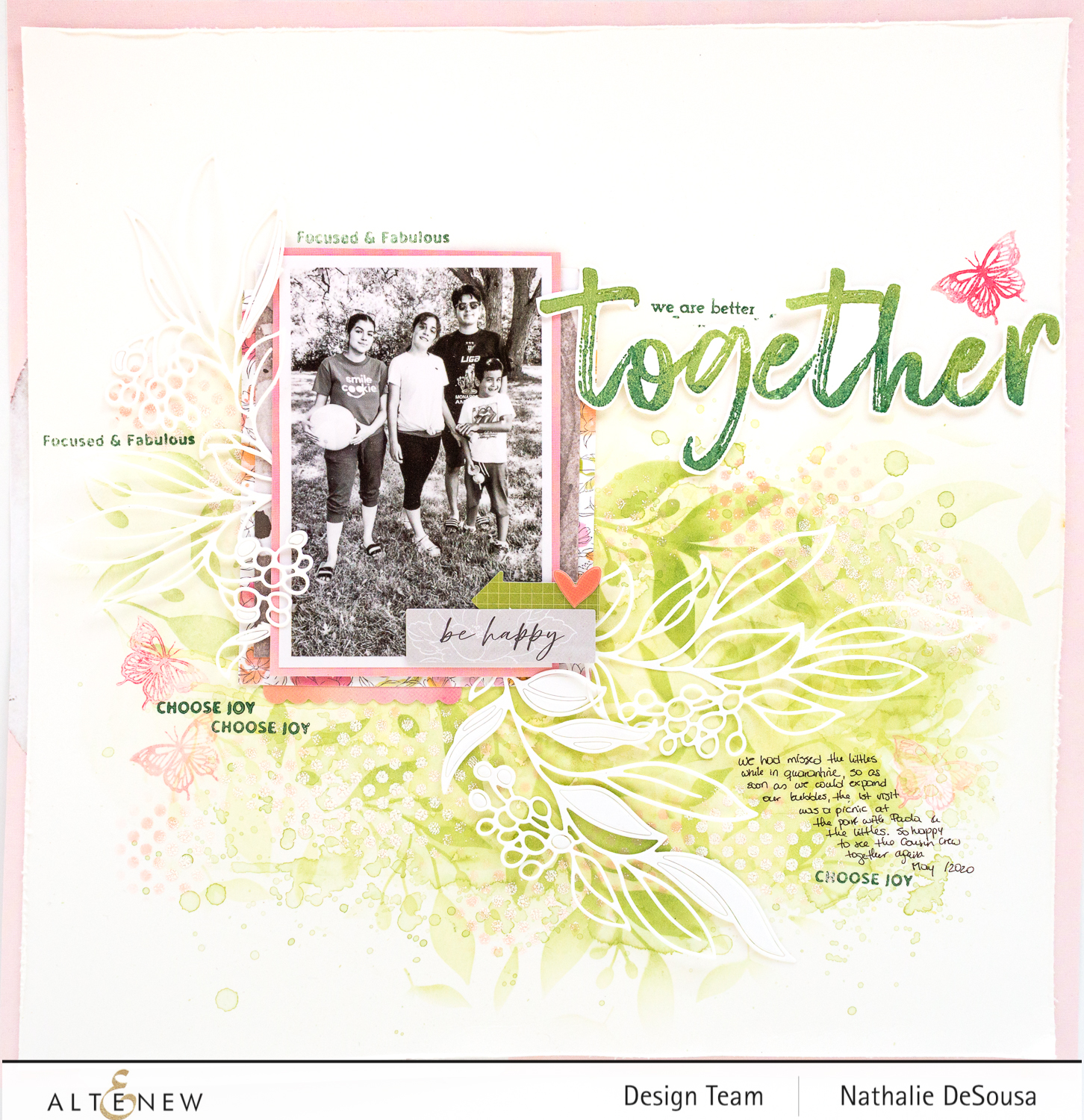 @Altenew_ Scrapbook Layout using Mixed media inks by Nathalie DeSousa
