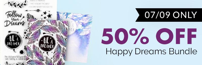 50% off happy dreams stamp die bundle