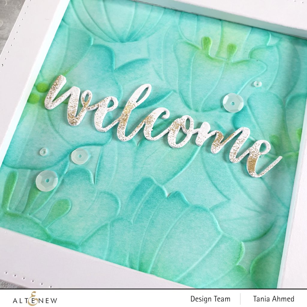 die cut word welcome