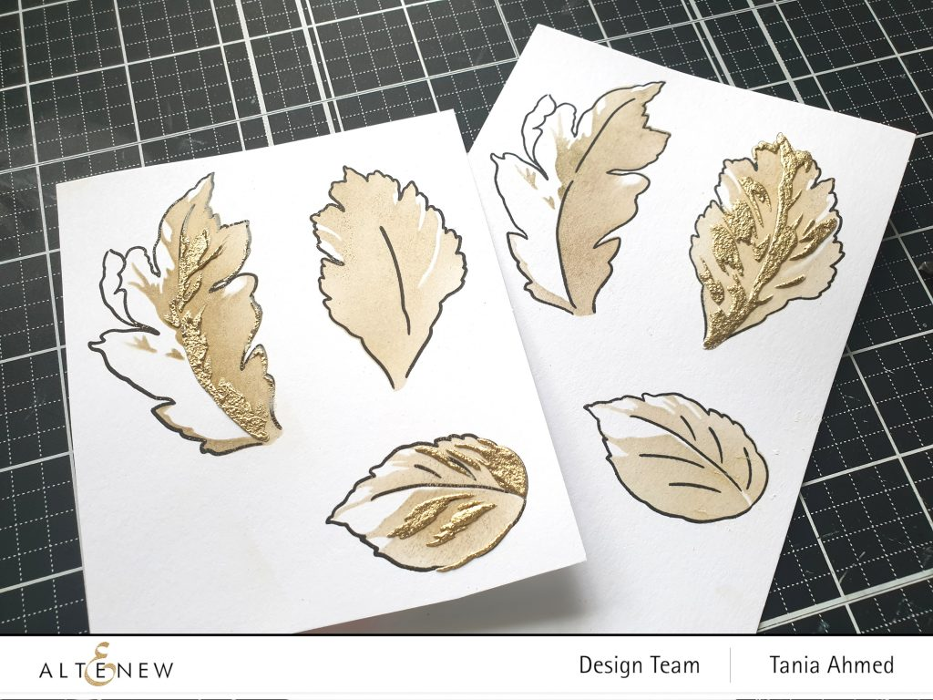 stamped leaves and mixed media heat embossing
