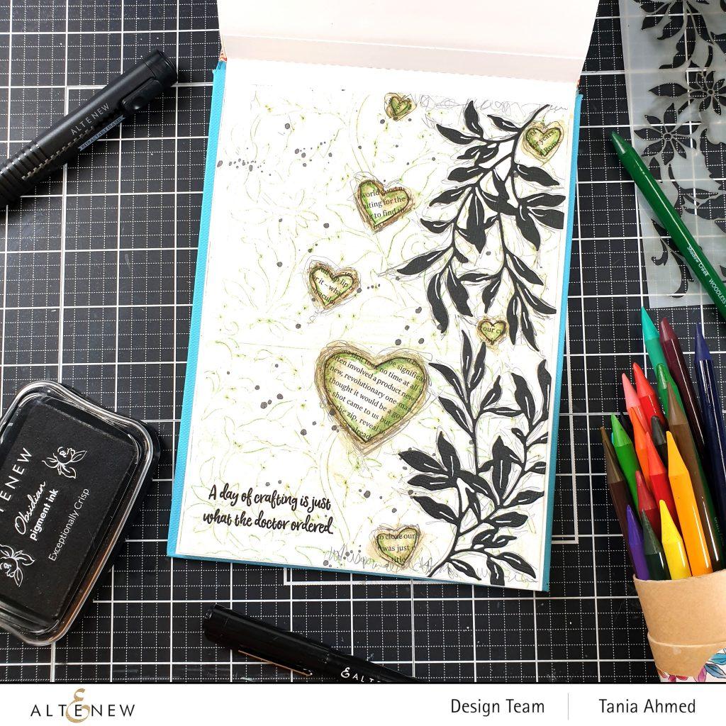 leafy botanical mixed media art journal page