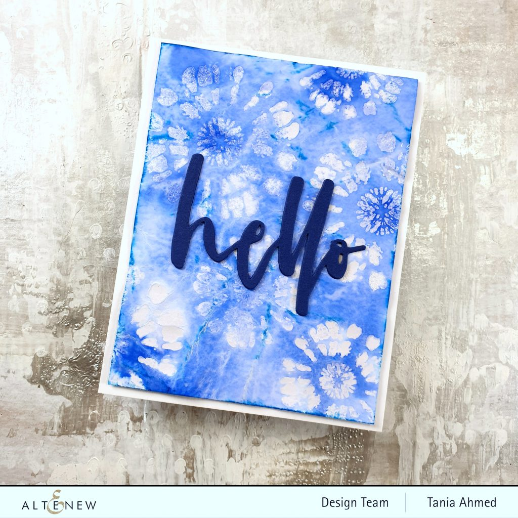 tie dye effects on a card using stamps