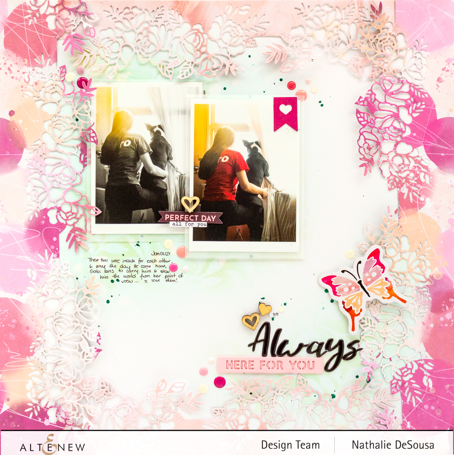 @altenew_ scrapbook layout with Wildflower collection by Nathalie DeSousa