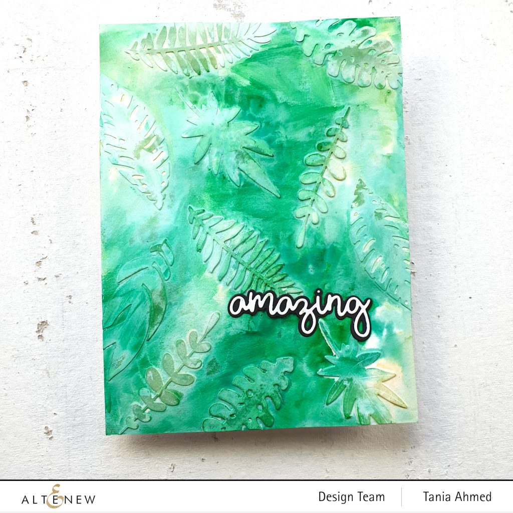 green mixed media art journal page made with die cuts