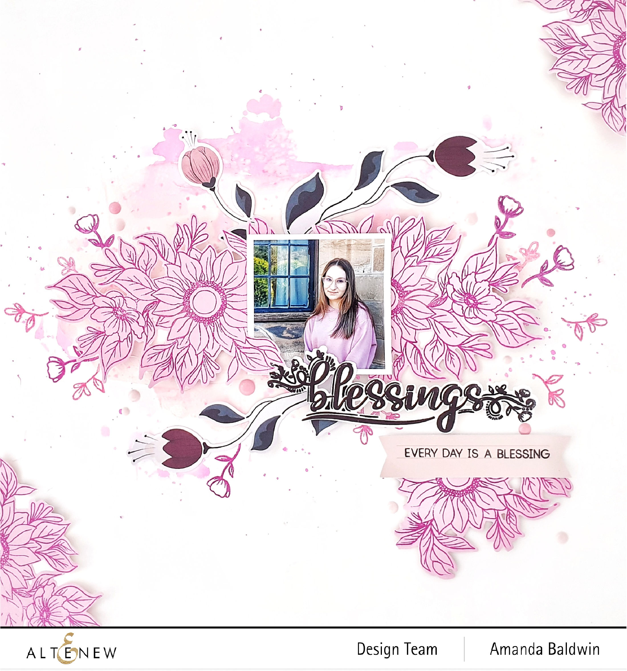 Creative Crafting with Featured Florals. Blossom & Bloom Outline Stamp.