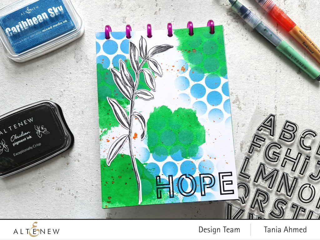 blue and green mixed media art journal page